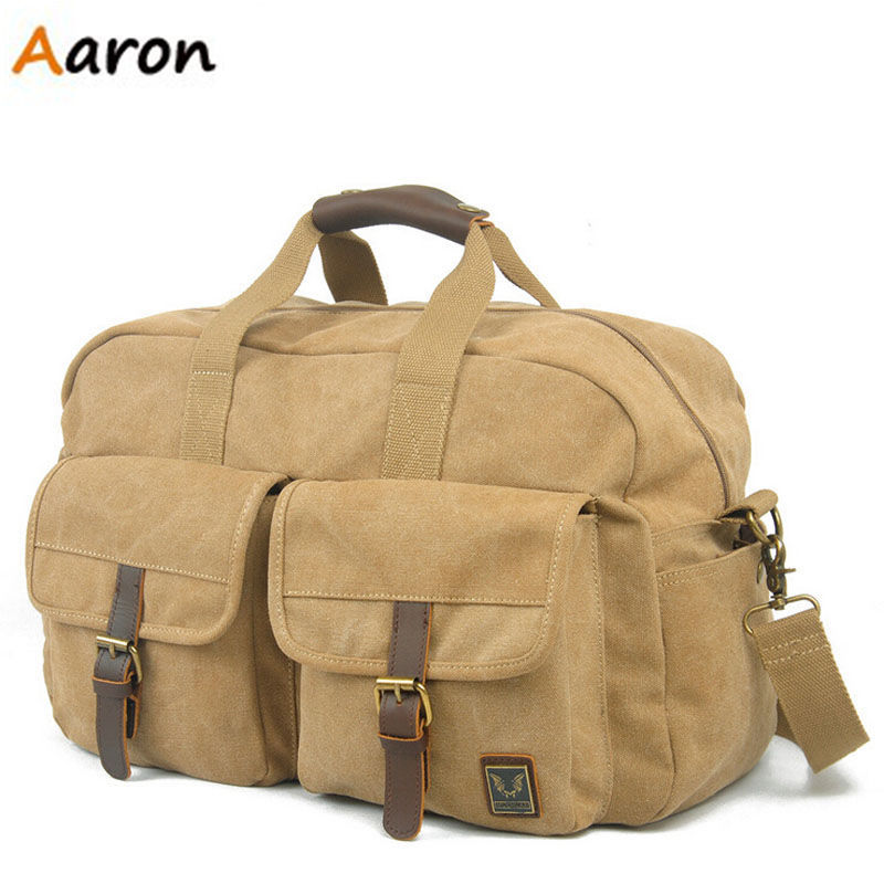 Aaron -Brand Designer Luggage Travel Bags,Canvas With Leather Large Capacity Duffle Bag,Humanized Portable Design Sports Bag