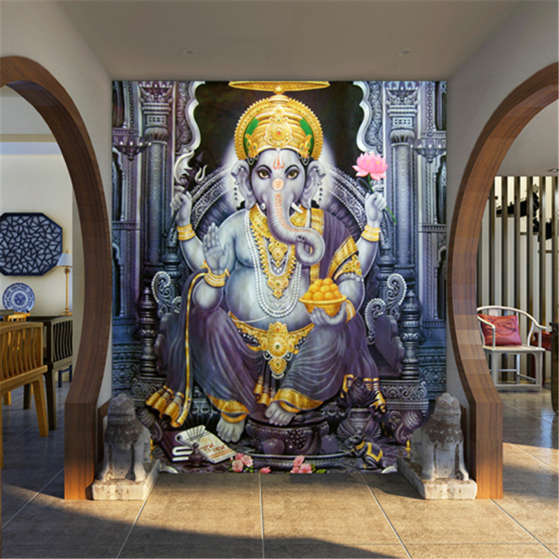 Popular indian elephant god buy cheap indian elephant god for Asian mural wallpaper