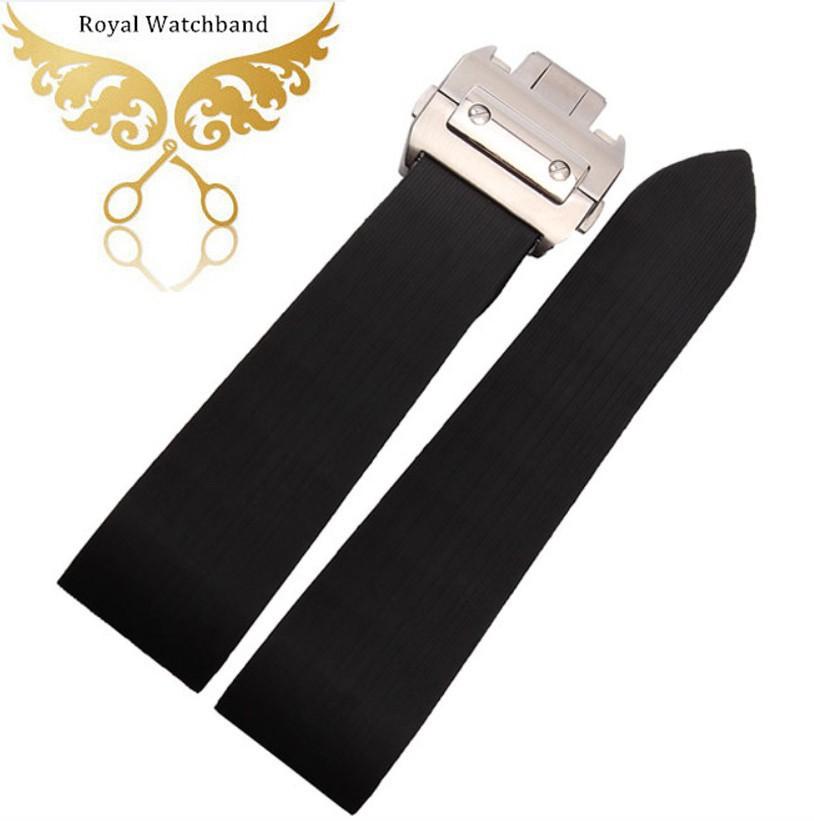 Wathcbands 25 мм черный водонепроницаемый резиновый ремешок группы браслеты W2020008 мужские часы аксессуары