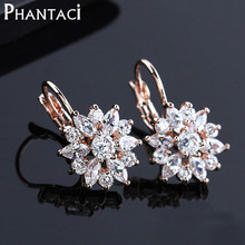 Free Gift Box Luxury Female Zircon Drop Earrings Rose Gold Plated CZ Crystal Flower Dangle Earrings For Women Jewelry Wholesale(China (Mainland))