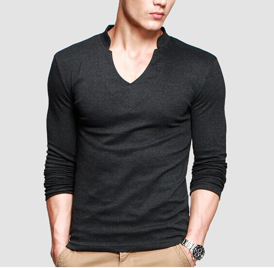Thick t shirt men s long sleeve brand tee v neck t shirt for Thick v neck t shirts