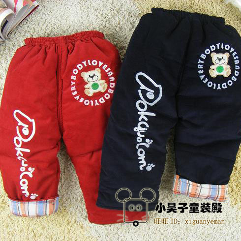 Winter corduroy cotton-padded trousers male child girls clothing child trousers