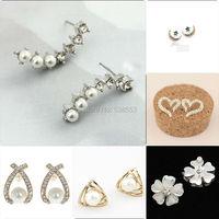 Wholesale 1 Pair Silver Gold Plated Stars Crystal Pearl Earrings Ear Hook For Women Girl Stud Earrings Jewelry