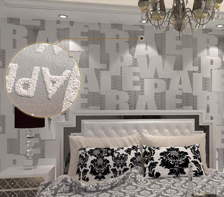 Classic Fashion English Letters Flocking PVC Wallpaper Roll For Living room Bedroom TV Sofa Background Silver Gold Coffee(China (Mainland))