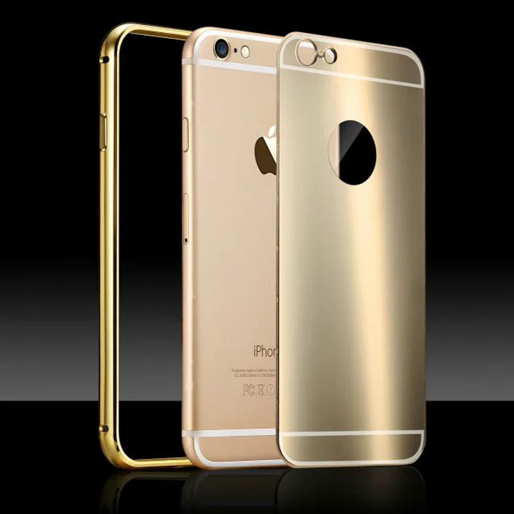 Luxury Aluminum Frame Color Plating Bright Back Metal Case Protective Phone Housing Cover Coque for iPhone 6 6S Plus 4.7'' 5.5''(China (Mainland))