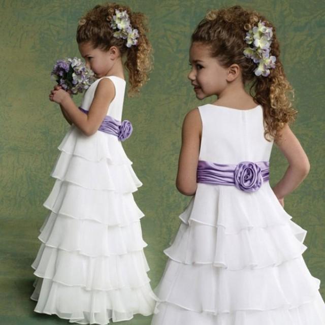 Цветок девочки платья для свадеб белый рукавов совок голеностопного длина line шифон ...