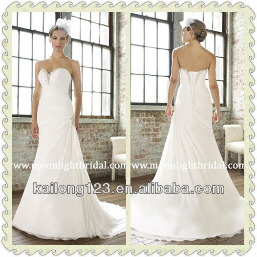 Lustrous sweetheart trumpet court train pleated bodice for Sweetheart neckline drop waist wedding dress