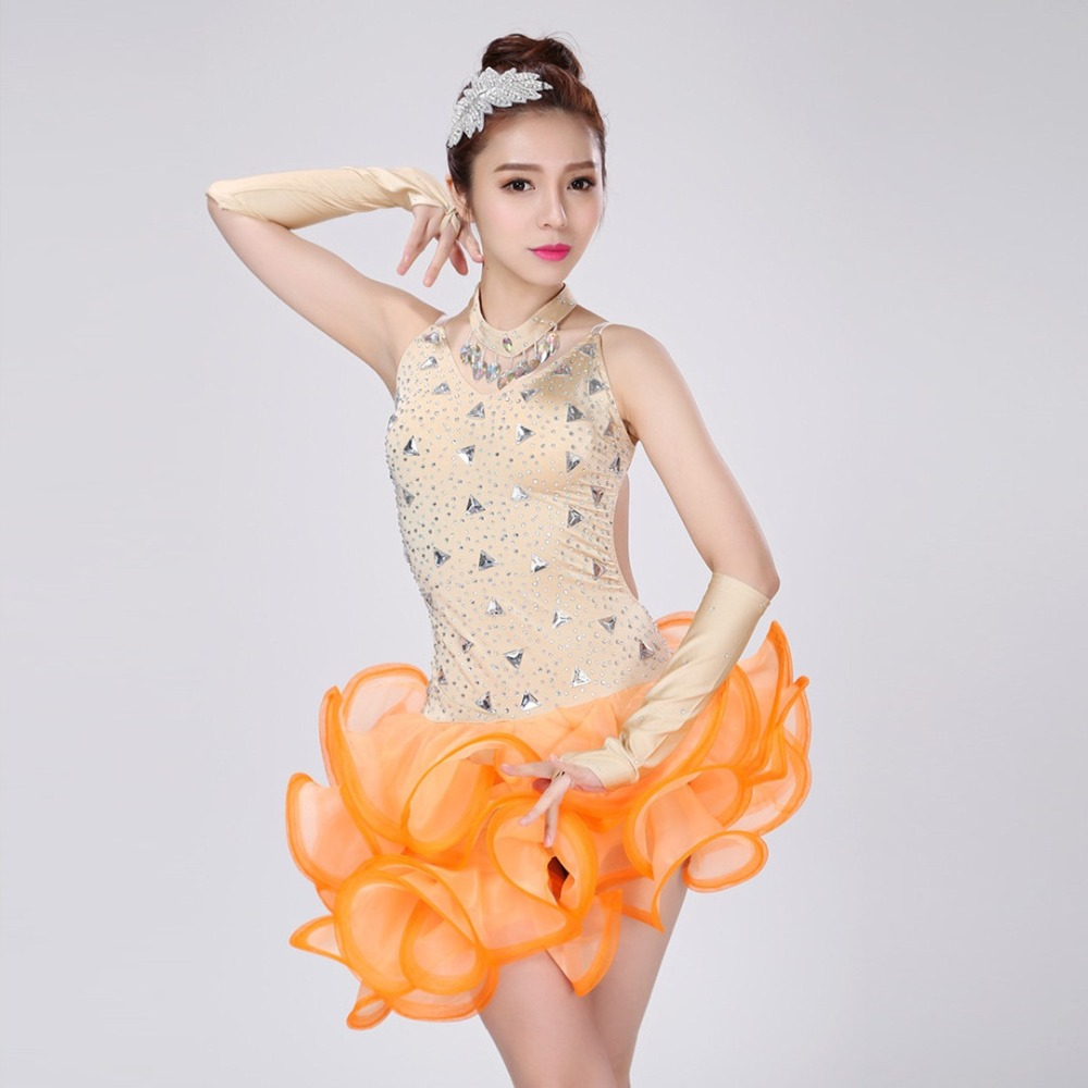 women sexy professional Latin dance competition dress customize children orange tassel sequined Rumba Samba costumes for girls(China (Mainland))