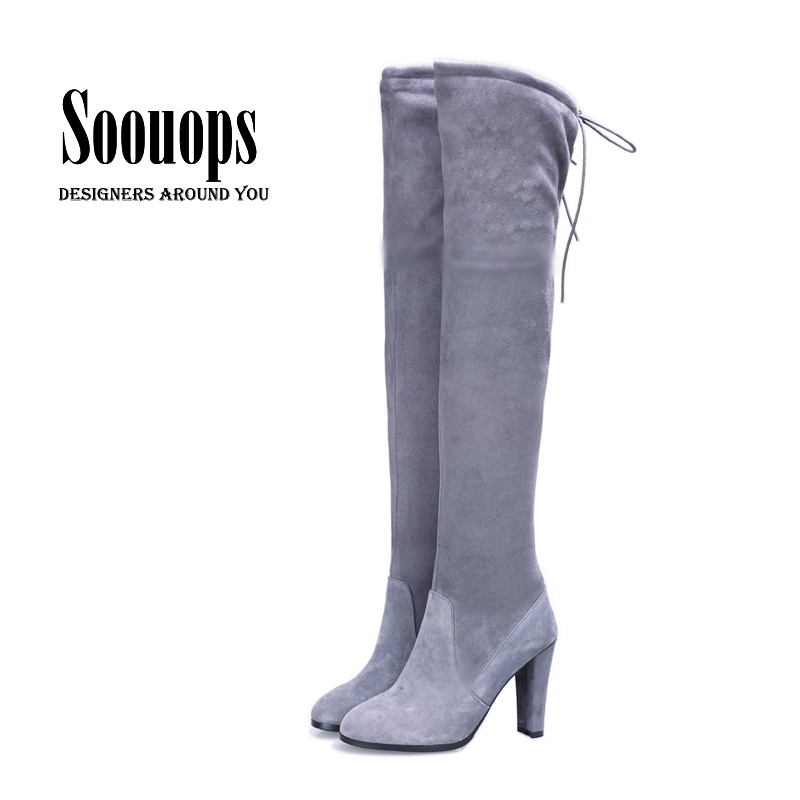 Autumn Winter High heel imitation suede thin long boots knee high thigh high boots women bota over the knee boots botas de mujer(China (Mainland))