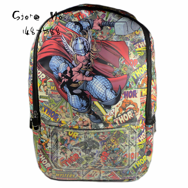 Avengers Marvel Comics Heroes Backpack Thor School Bag YXBB007(China (Mainland))