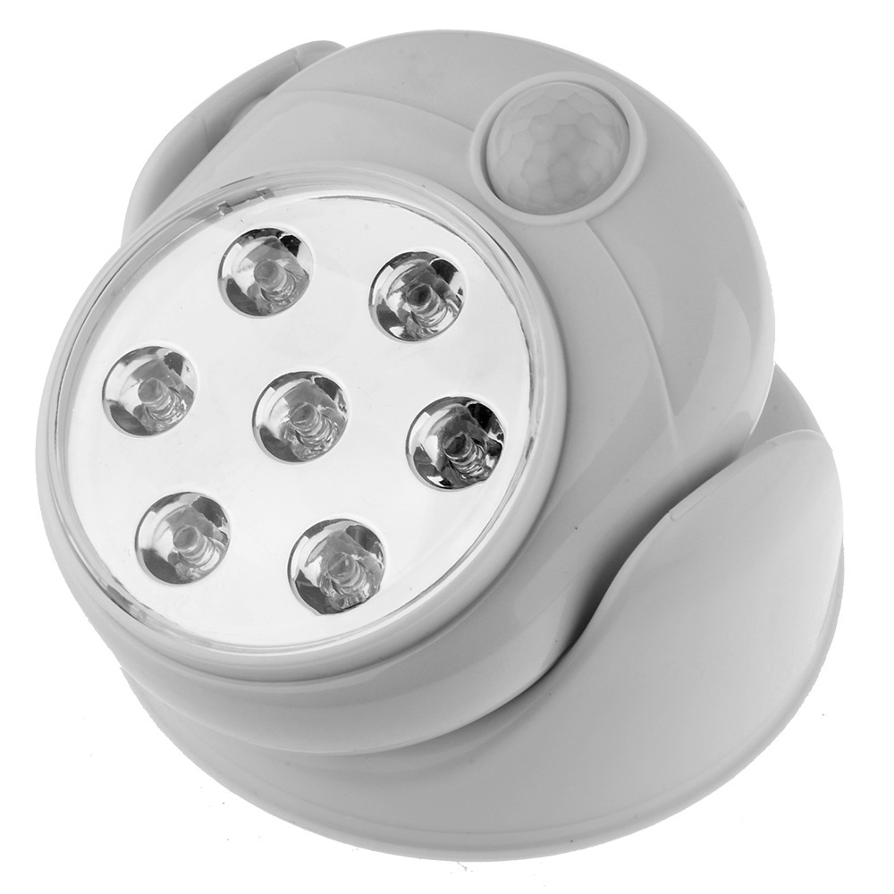 Free Shipping White 7 LEDs Cordless Motion Activated Sensor Light Wall Lamp 360 Degree Rotation Porch Light For Indoor Outdoor(China (Mainland))