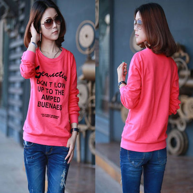 Spring letter sweatshirt women's school wear outerwear young girl juniors clothing 604(China (Mainland))