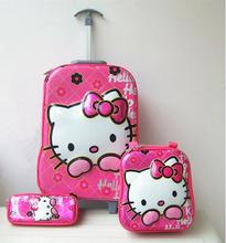 girls fashion luggage 16 inches wheels 6D hello kitty sets (lunch box + pen boxes+trolley ) - NUOSHUI STORE store