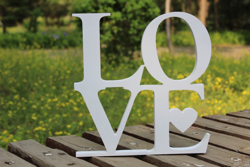 Free Shipping LOVE wedding sign pvc wooden letters, wedding decor head table,chair backers wall hangings, script vintage white,(China (Mainland))
