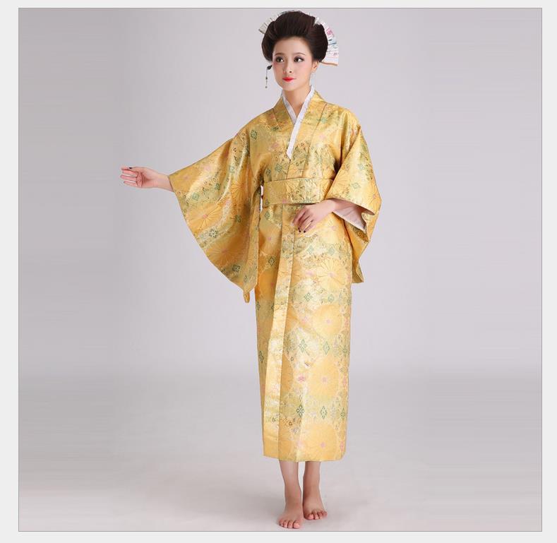 Novelty Evening Dress Women Satin Kimono Sexy Yukata With Obi Performance Dance Dress Japanese Cosplay Costume One Size