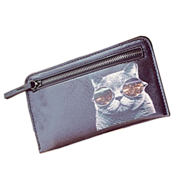 Vintage Long Design Women Wallet Black Leather Cat Wallet Hand Clutch Zipper Purse Coin Pocket Card Holder Lady's Walet carteira(China (Mainland))