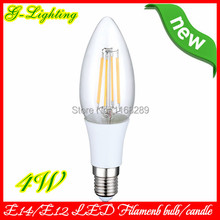 Free shipping 6 pcs/lot 100lm/w warm white led filament light bulb 220v e14 3W 4W E27 6W 8W clear grass light bulb decorative(China (Mainland))