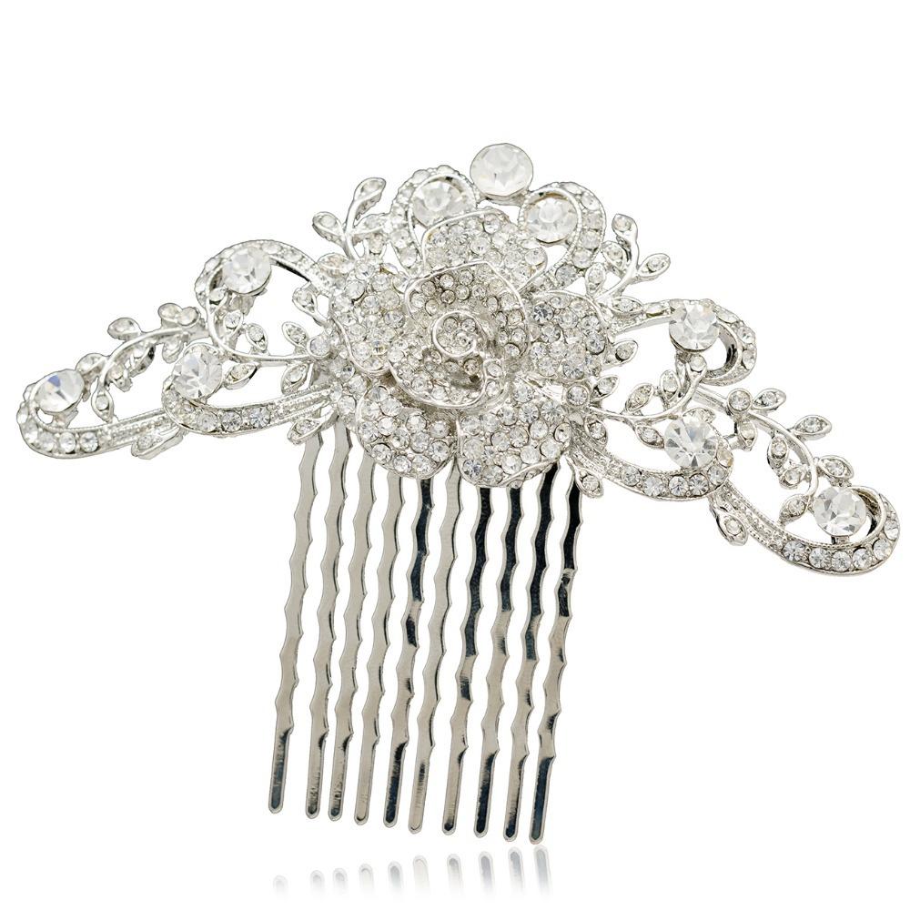 Clear Rhinestone Crystals Princess Bridal Wedding Rose Flower Hair Comb Hairpins Barrette Wedding Accessories COFA2939(China (Mainland))