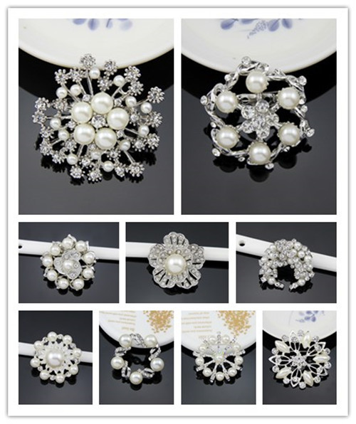 Cheapest High quality Rhinestone Brooch Platinum Silver Flower White Pearl Brooch Bouquet for wedding brooches for women(China (Mainland))