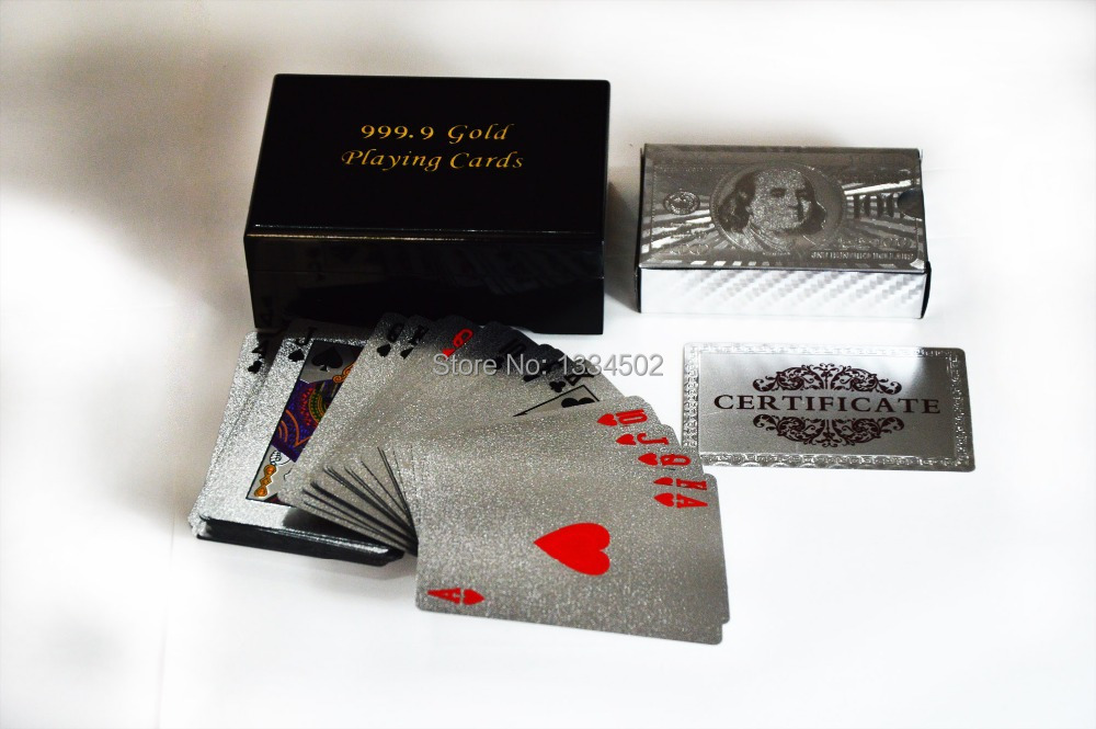 Poker Playing Card USD 100 Dollar with Black Wooden Case with Certificate For Gift And Games,Free shipping(China (Mainland))