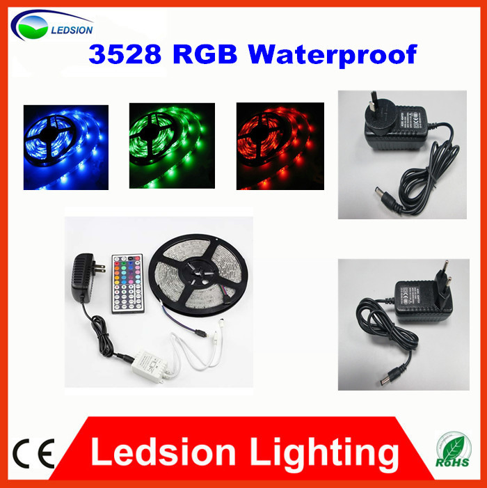 Best Price 5M/roll 3528 RGB flexible Waterproof led strip, 60leds/M &amp; 44key IR Controller free shipping by Sweden Post/TNT POST<br><br>Aliexpress
