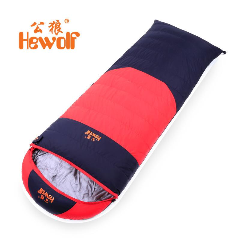 Фотография Hewolf duck down 1200g Filling -15C comfortable temperature ultra-light adult breathable thickening sleeping bag