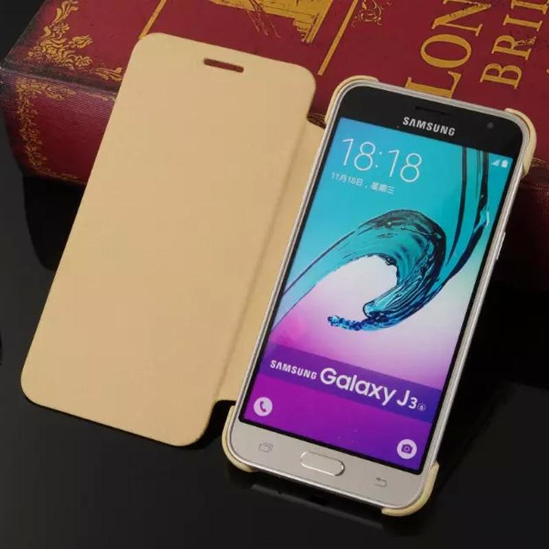 Fashion PU Flip Leather Case For Funda <font><b>Samsung</b></font> <font><b>Galaxy</b></font> <font><b>J3</b></font> Case J300 J320 Leather Cover Hard PC Color Shockproof Phone Cover Shell