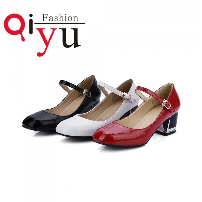 Latest womens fashion style and comfortable microfiber patent leather high heels shoes red black white shoes free shipping 3439<br><br>Aliexpress