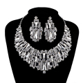 Bridal jewelry sets rhinestone Austrian Crystal wedding party necklace earrings set silver plated Cubic stone Wholesale