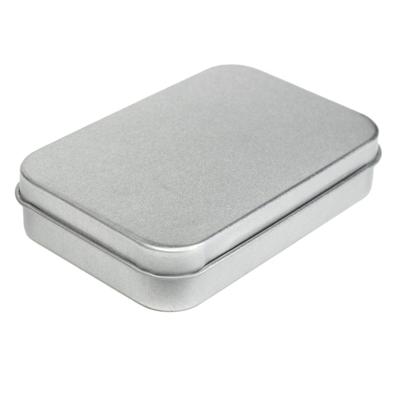 High quality Survival Kit Tin Hinged Lid Small Empty Silver Flip Metal Storage Box Case Organizer For Money Coin Candy Keys(China (Mainland))