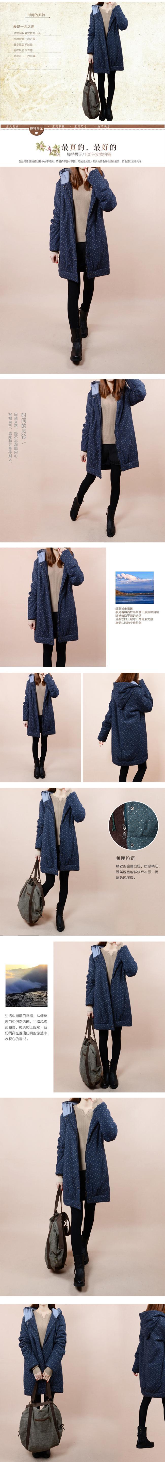 Скидки на Зима небольшой хлопка-ватник горошек куртки ватные женщина долго дизайн утолщение ватные куртки случайные хлопка-мягкий
