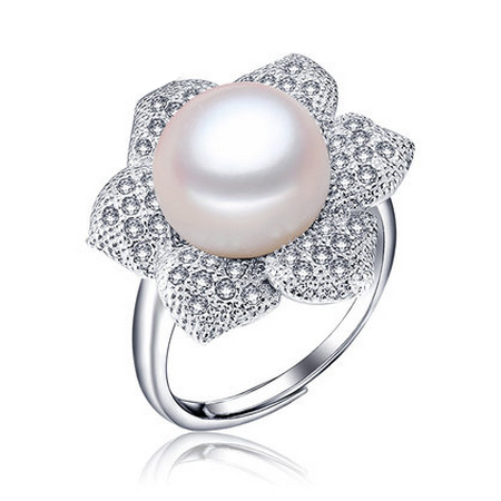 Romantic flower pearl ring top quality 925 sterling silver jewelry with AAA zircon high quality gift for women/wife promotion(China (Mainland))