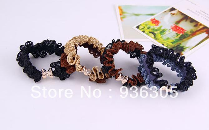 Min.order is $10 (mix order) . Openwork lace fabric bow hair rope, FREE SHIPPING.(China (Mainland))
