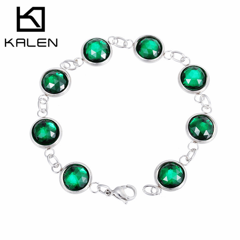 Alibaba hot selling jewelry stainless steel hand chains green glass beads bracelets for sweet girls from China manufacturer(China (Mainland))