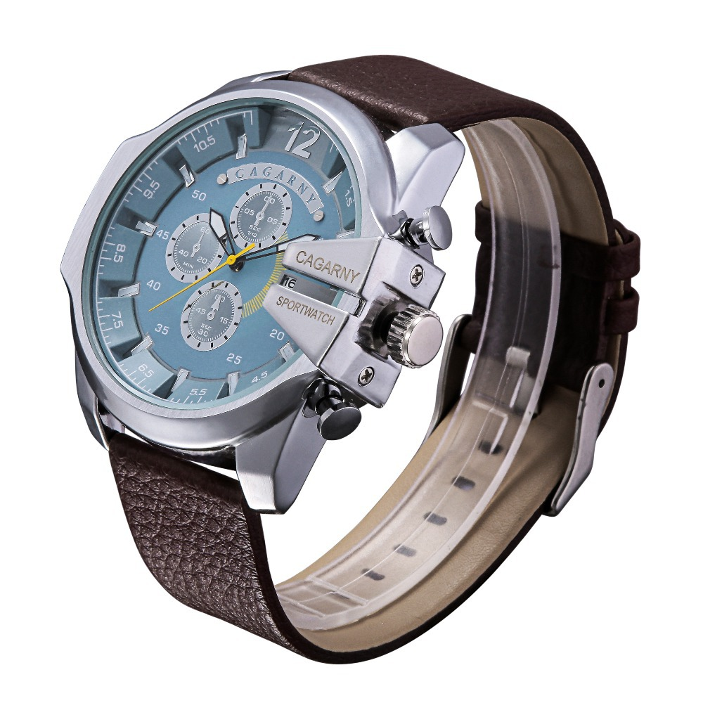 2015New Sport watch CAGARNY brand watch men Fashion design Clock Quartz sports watches leather strap With calendar free shipping(China (Mainland))