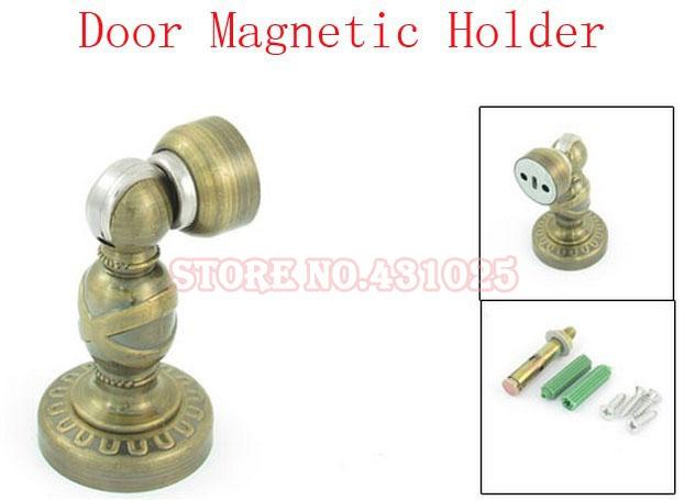 Wholesale discount!Metal Door Holder Magnetic Stopper Doorstop Set Brass Tone for Home 2sets(China (Mainland))