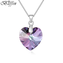 Best Quality 100% Original Crystals From SWAROVSKI Heart Pendant Necklaces Women Handmade Maxi Collares Valentine's Day Gift(China (Mainland))
