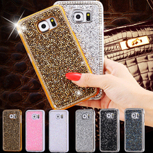 S6/ S6 Edge Women Girl Plated Metal Case For Samsung Galaxy S6/S6 Edge G9250 Bling Crystals Edge & Full Diamond Slim Back Cover