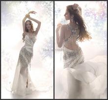 Sexy Bling Bling Beaded Hater Backless Sleeveless High Slit Chiffon Wedding Dress 2017 Cheap Price Fast Ship DE09034(China (Mainland))