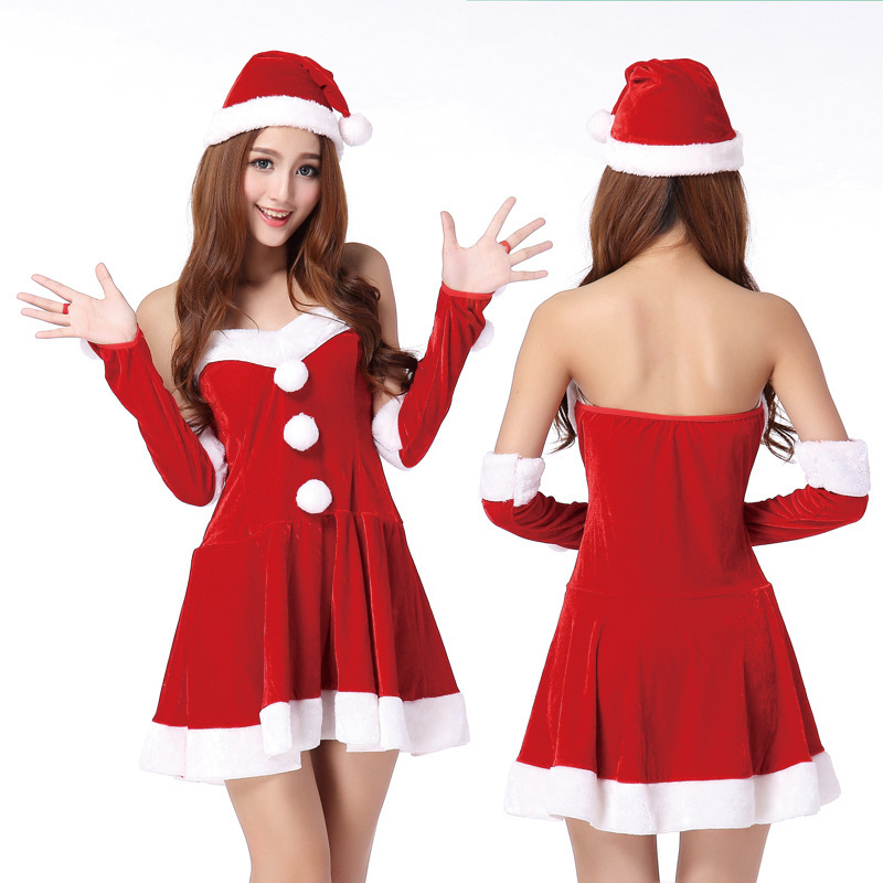 Women christmas apparel female santa costume red christmas dress