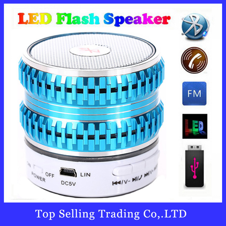2015 New Arrival Colorful LED Portable Wireless Bluetooth Speaker Mini USB Flash Disk Multi-Function Speakers With FM Radio(China (Mainland))
