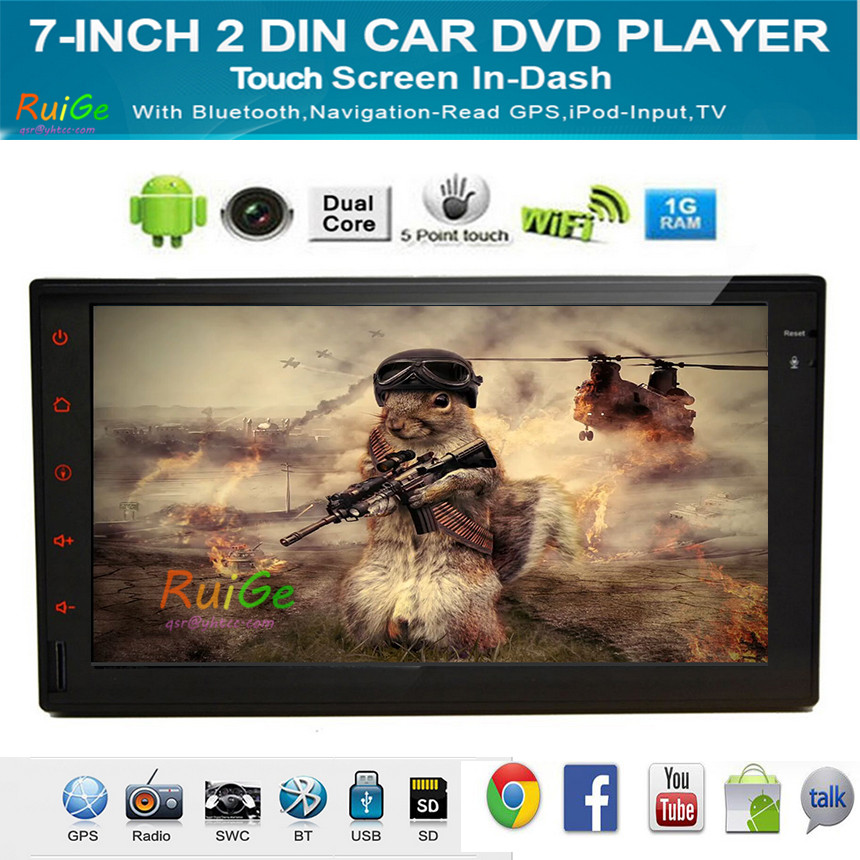 7'' Universal 2 Din radio Android 44 Car no DVD Player GPS Navi 800*480 double din touch screen car stereo Bluetooth iPod vw()