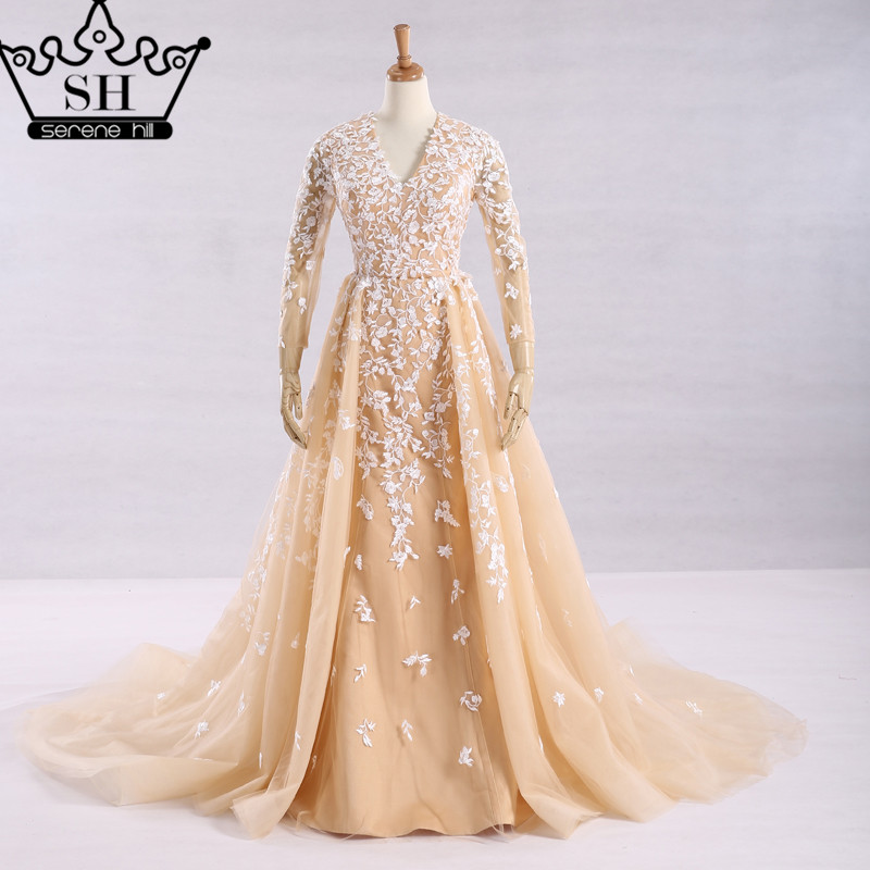 Popular champagne colored long sleeve wedding dresses buy for Champagne colored wedding dresses with sleeves