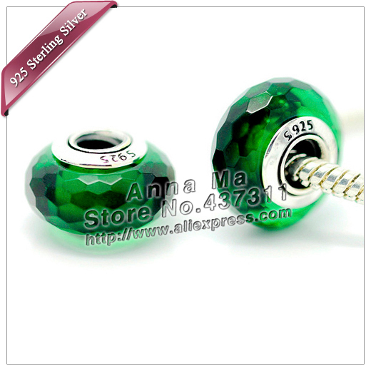 2pcs S925 sterling silver Green Fascinating Faceted Murano Glass Beads Fit European pandora Charm Bracelets & necklaces ZS272(China (Mainland))