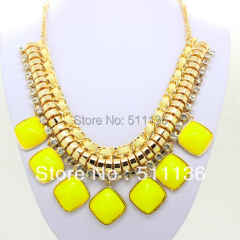 2013 New Arrival jewelry Gold Chain Candy Color Resin Ribbon Bib Statement Chunky Necklaces  Mixed Colors KK-SC097 Retail