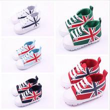 2015 мода печать флаг детская обувь новорожденных мальчиков и девочек мягкое дно первые ходунки младенцы спортивная обувь кроссовки