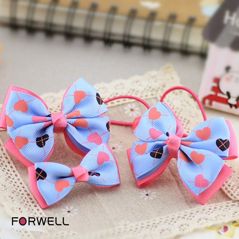 3Pcs/lot Children's handmade bow hair rope hairpins hair accessories heart-shape print baby girls headwear hair ornaments(China (Mainland))