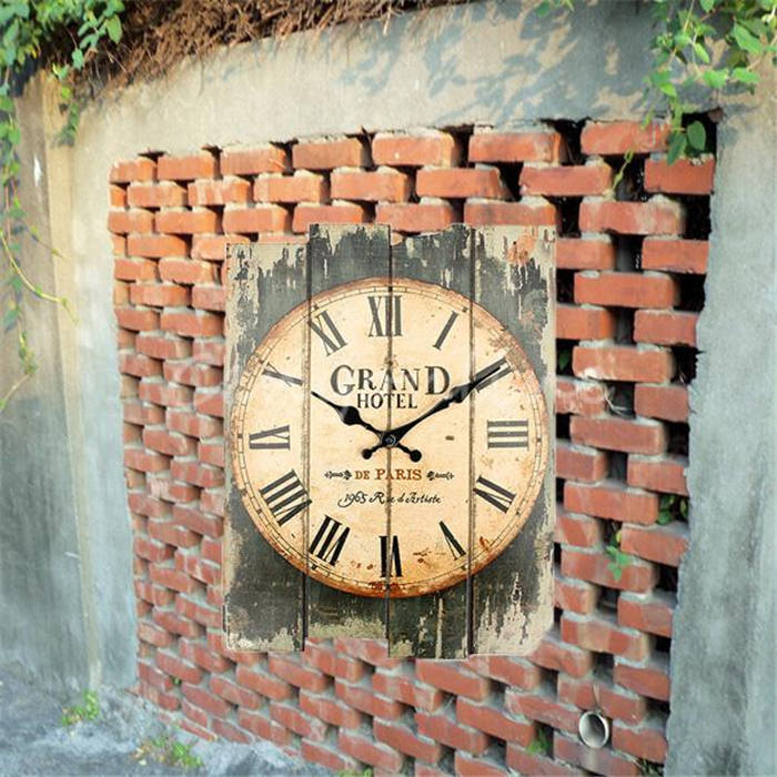 High Quality Gift Craft New Designed High Quality Vintage Rustic Wall Clock Shabby Chic Home Office Coffeeshop Bar Decoration