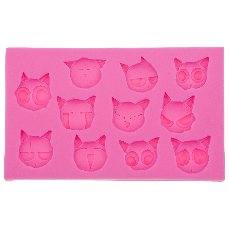 Cartoon Cats with Various Expressions DIYcake molds silicone baking tools decorations for cakes Fondant mould F0548(China (Mainland))