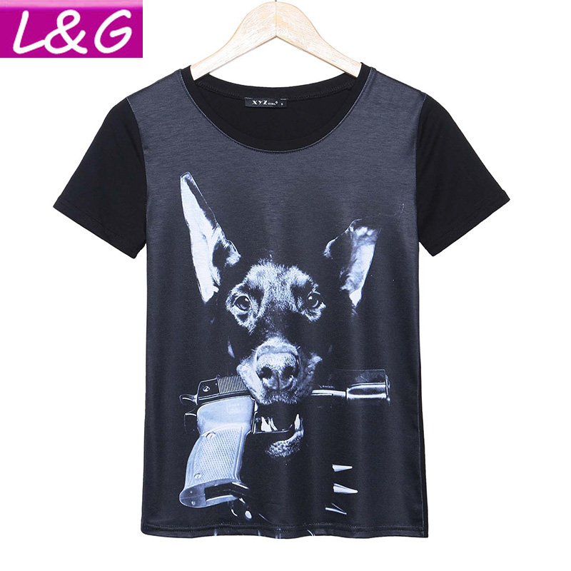 2016 Fashion Harajuku T Shirt Women Gun Dog Printed T-shirt Summer Short Sleeve Plus Size Rock Punk Tops Camisetas Mujer 21193(China (Mainland))